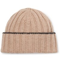 Brunello Cucinelli Contrast Tipped Ribbed Wool Beanie Cream