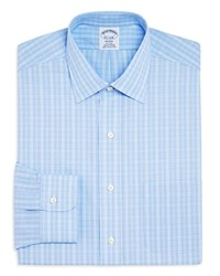 Brooks Brothers Overcheck Regent Classic Fit Dress Shirt Light Blue