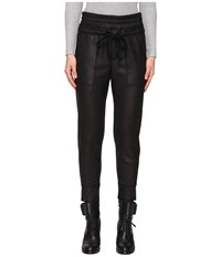 The Kooples Sport Leather Effect Fleece Banded Sweatpants Black Women's Casual Pants