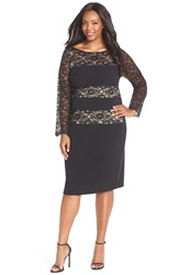 London Times Lace Blocked Sheath Dress Plus Size Black Nude