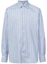 Eton Checked Button Shirt Blue