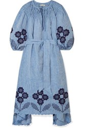 Innika Choo Hugh Jesmok Embroidered Broderie Anglaise Linen Chambray Midi Dress Blue