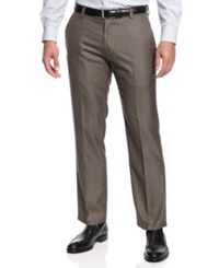 Kenneth Cole Reaction Slim Fit Sharkskin Dress Pants Taupe
