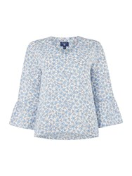 Gant Linked Floral Print Bell Sleeve Top White