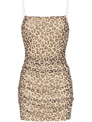 Sandy Liang Lily Leopard Print Fitted Mini Dress Brown