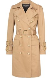 Balmain Button Embellished Cotton Twill Trench Coat Beige