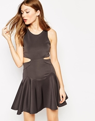 Boulee Isabelle Dress With Cut Out Side Details Charcoal
