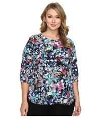 Nydj Plus Size Solid 3 4 Sleeve Pleat Back Bountiful Gardens Women's Long Sleeve Button Up Multi