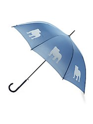 The San Francisco Umbrella Company English Bulldog Print Auto Open White Navy