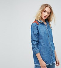 Noisy May Tall Denim Shirt With Floral Embroidery Medium Blue Denim