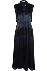 Ganni Donnelly Fringed Satin Midi Dress Navy