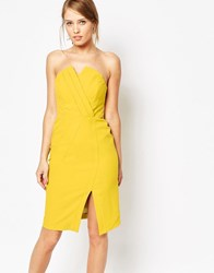 Oasis Structured Bandeau Dress Yellow