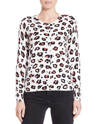 Lord And Taylor Animal Print Cotton Modal Cardigan White