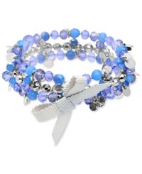 Lonna And Lilly Silver Tone Blue Bead Bow Coil Bracelet