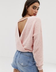 Hollister Supersoft Jumper With Wrap Back Detail Pink