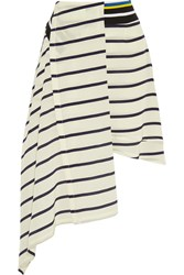 Preen Turkana Striped Silk Crepe De Chine Skirt White