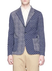 Barena 'Torceo Tiole' Dot Houndstooth Patchwork Knit Soft Blazer Multi Colour