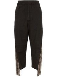 By Walid Cross Stitch Cropped Trousers Black
