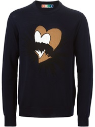 Msgm Woven Heart Sweater Black