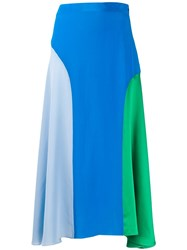 Chinti And Parker Colour Blocked Silk Dress Blue