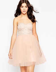 Little Mistress Prom Dress In Floral Lace Cream