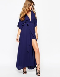 Goldie Plunge Front Wrap Dress With Kimono Sleeve Blue