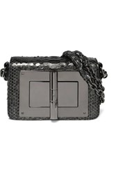 Tom Ford Natalia Mini Metallic Python Shoulder Bag Gunmetal
