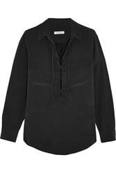 Equipment Knox Lace Up Washed Silk Shirt Black