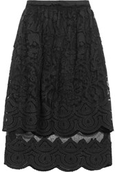 Suno Tiered Appliqued Tulle Midi Skirt Black