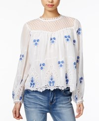 Endless Rose Embroidered Crochet Lace Top Off White Combo
