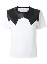 Neil Barrett Leather Effect Panel T Shirt White