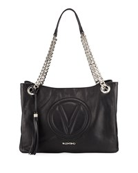 Valentino By Mario Valentino Verra Sauvage Leather Tote Bag Black