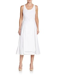 Pauw Pleated Belted A Line Dress White