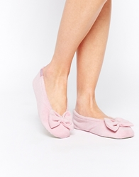 Totes Velour Big Bow Ballerina Slippers Pink