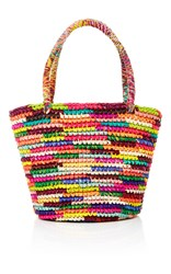 Sensi Studio Rainbow Straw Tote Pink Yellow Purple