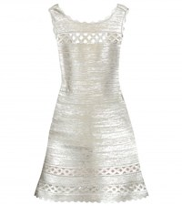 Herve Leger Dominica Metallic Bandage Dress Silver