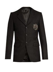 Dolce And Gabbana Embellished Single Breasted Blazer Black