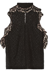 Just Cavalli Ruffle Trimmed Silk Blend Chiffon Top Black