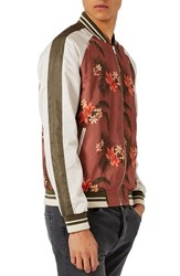 Topman Men's Tropical Print Satin Bomber Jacket Brown Multi