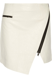 Jonathan Simkhai Asymmetric Croc Effect Leather Mini Skirt Mint