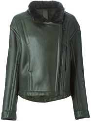 Petar Petrov Fur Lined Biker Jacket Green