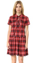 Marc Jacobs 3 4 Sleeve Knit Dress Red Plaid