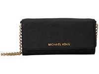 Michael Michael Kors Jet Set Travel Wallet On A Chain Black Cross Body Handbags