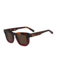 Salvatore Ferragamo Runway Plastic Sunglasses Havana Red