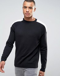 New Look Jumper With Sport Patch Detail In Black Black