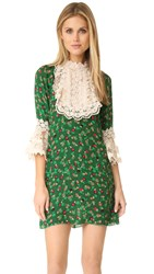 Anna Sui Paper Flower And Lace Dress Forest Multi