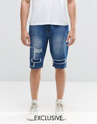 Brooklyn Supply Co. Co Indigo Patched Worn Prospect Slim Shorts Ind Washed Blue Navy