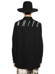 Off White Oversized Stretch Denim Western Shirt