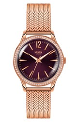 Henry London Hampstead Mesh Strap Watch 34Mm Rose Gold Purple Rose Gold