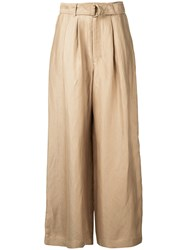 Estnation High Waisted Cropped Trousers Women Linen Flax 36 Brown